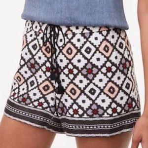 Loft drawstring linen blend shorts Patchwork sz 12